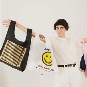 Baggu Black & Gold Diagonal Striped Bag